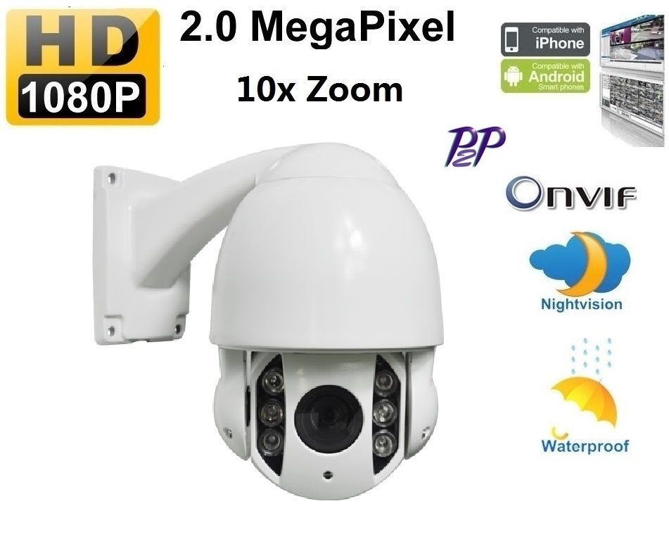 Onvif Hd 2mp 1080p 10x Zoom Ip Ptz Outdoor Ir High Speed