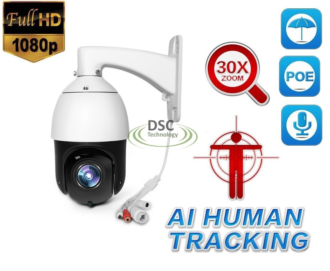 Details about 1080P PTZ Auto Tracking 30X Zoom H 265 IP66 POE IP Camera AI  Human Body Face