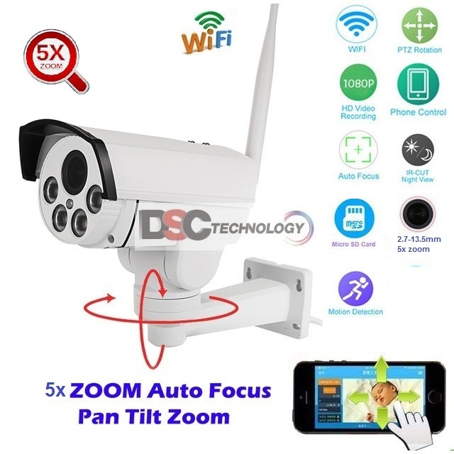 Details about PTZ HD 1080p Wireless WIFI IP camera Pan Tilt 5x Optical Zoom  Auto-focus Camera