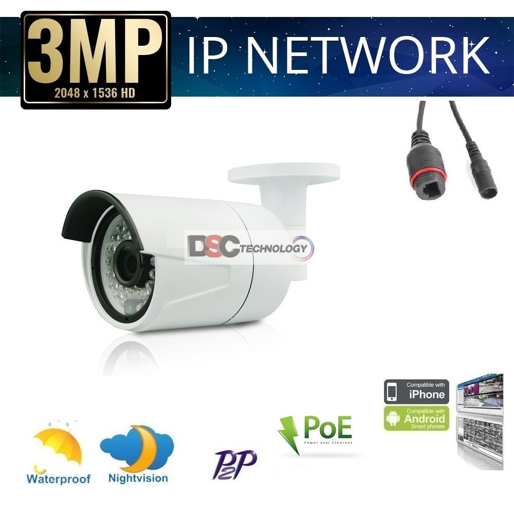Details about POE HD 3 0MP 1080P IP Camera ONVIF Network Outdoor IP66  Security IR Night Vision