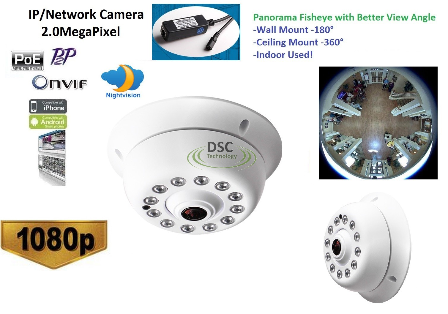 Details about CCTV Indoor 1080P IP Camera 180/360 Degree Viewing, Onvif  Support, XMEYE, PoE