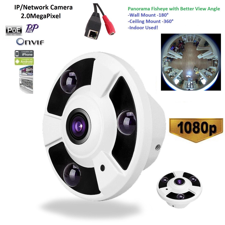 Indoor ONVIF 1080P 2 0Megapixel Panorama View 180 360 Degree Panoramic PoE IP Camera Night Vision