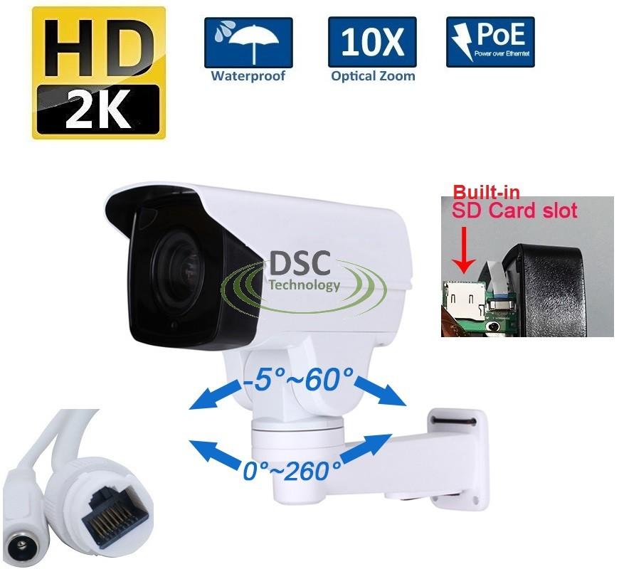 Rsrteng H.265 2MP 10X Optical Zoom IR POE PTZ Camera IP66 Surveillance Cameras